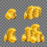 Fistful of gold coins on transparent background. Game coins illustration. Eps10 vector.