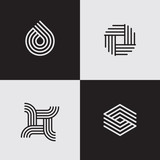 Modern line logos. Futuristic geometric shapes. Eps10 vector. - 134751841