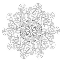 Graphic Mandala with waves and curles. Zentangle inspired style.