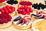 Closeup of fig tart dessert tray assorted