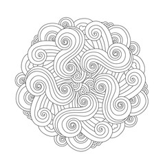 Graphic Mandala with waves and curles. Element of sea. Zentangle inspired style.