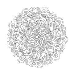 Graphic Abstract Mandala. Zentangle inspired style.