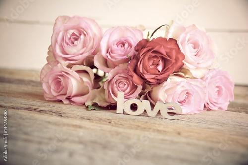 Leinwanddruck Bild Rosenstrauß - Love