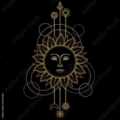 Fototapeta Gold Sun Modern Symbol