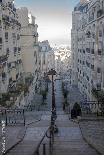 Typical staircase in Montmartre, Paris in winter