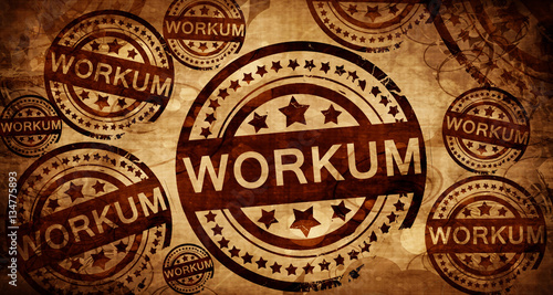 Workum, vintage stamp on paper background