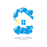 Cleaning service vector logo, emblem or icon design template. Clean house isolated illustration. Home with lather, soap foam and water drops. - 134776695
