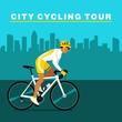 Постер, плакат: Bike racers on the way city cycling tour