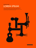 Music modern retro vintage poster background vector illustration