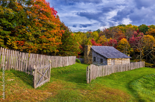 Rustic Cabin, Autumn Scenic, Cumberland Gap National Park