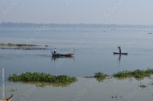 Poster, Tablou Boats In Taungthaman Lake Near Amarapura, Myanmar