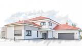 Skizze Wohnhaus mit Garage - 134822434