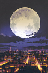 night scenery of full moon over night city skyline with colorful light,illustration painting