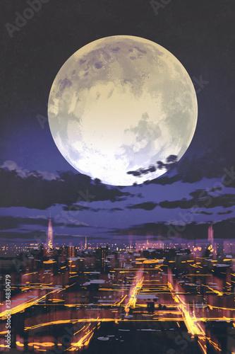 Miasto Nocą Wf2830 Watercolour Plakaty