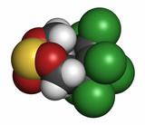 Endosulfan insecticide molecule, 3D rendering.