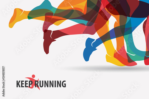 Fototapeta running people set of silhouettes, sport and activity backgroun