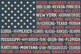 Fototapety Poster of United States of America flag with states and capital cities. Print for t-shirt of USA flag with names states. Colorful vintage typographic hand-drawn. Vector Illustration