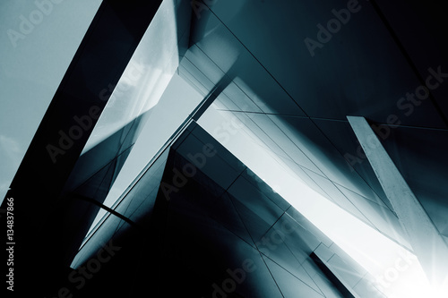 Wide angle abstract background view of steel light blue high ris