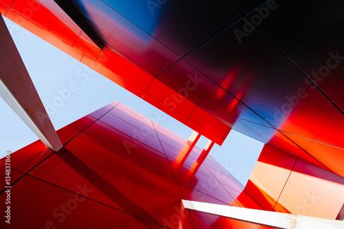 Fototapeta samoprzylepna Wide angle abstract background view of steel light blue high ris