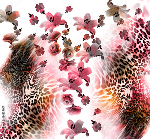 flower mix leopard skin - 134839017