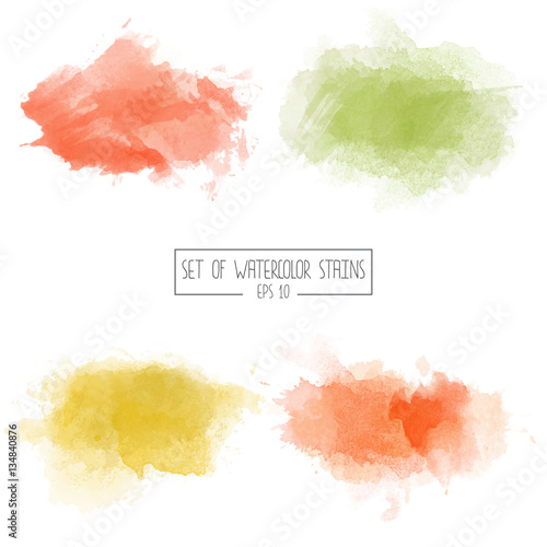Sticker Set of color vector watercolor stains