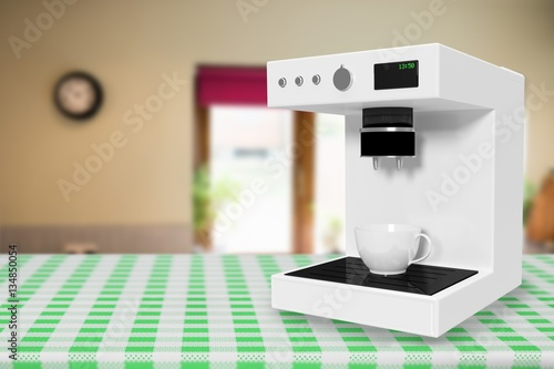 Poster Composite image of coffee maker machine in white 3d