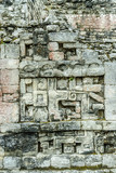 geometric decorations in the Mayan ruins of the archaeological place of Becan in the reservation of the biosphere of Calakmul in Campeche, Mexico.
