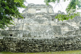 ruins of a pyramid in the Mayan archaeological place of Becan, Campeche, Mexico