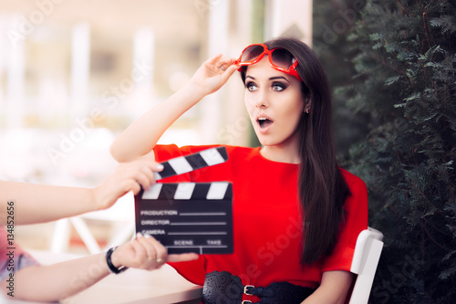 Surprised Actress with Oversized Sunglasses Shooting Movie Scene Poster