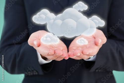 Poster Composite image of close up of hand of a businessman 3d