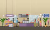 Vector illustration of passengers at airport terminal, flat design