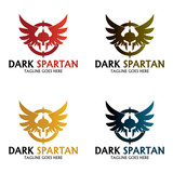 Dark spartan logo design template, Vector Illustration