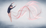 Dancing ballet performance artist with abstract swirl