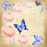 roses with butterfly on grunge background