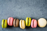 Macaroons top view copy space.
