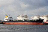 Port oil terminal with tanker moored