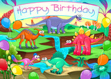 Happy Birthday card with funny dinosaurs