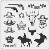 Wild west. Set of rodeo, sheriff and cowboy vintage emblems, icons and design elements. - 134878893