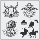 Wild west. Set of rodeo, sheriff and cowboy vintage emblems, labels, badges and design elements. - 134879005
