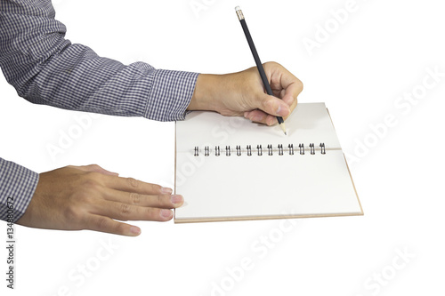Poster Man Writing Book on Left Hand with pencil isolated white background