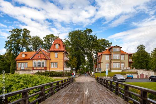 Keuken foto achterwand Noord Europa A view of Saaremaa island, Kuressaare castle in Estonia. Cosy old wooden houses