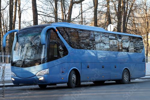 Fototapeta Modern blue bus.