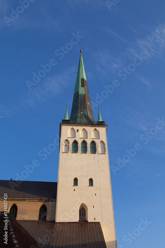 Beautiful St. Olaf  church in the Old Town of Tallinn, Estonia Poster