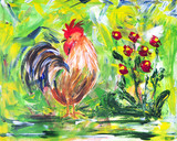 Colorful cock and flowers