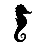Silhouettes of seahorse, sea animals isolated black and white vector illustration minimal style