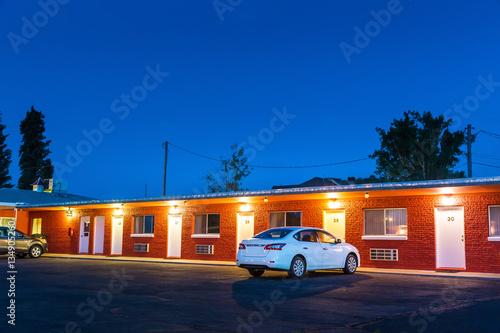 Aluminium Route 66 USA roadside motel in the night.
