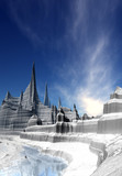 3d Created and Rendered Fantasy Landscape with Ice and Snow - Illustration