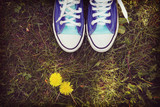 Blue sneakers outside in the grass.