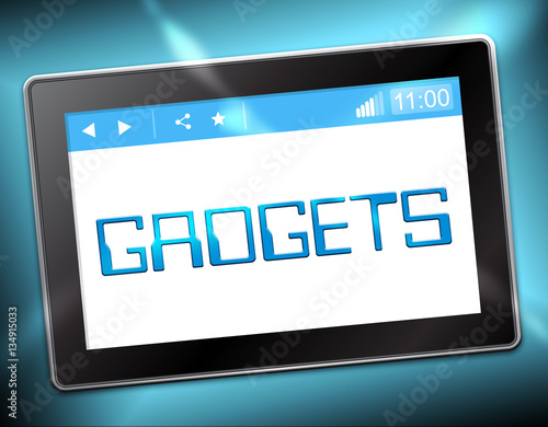 Poster Gadgets Tablet Shows Gizmos Online 3d Illustration