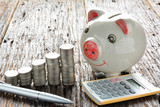 Finance stack coins, calculator, silver pen and piggy bank on wood table and copy space